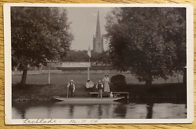 Vintage Postcard - Lechlade, Punt on the River, New Inn Hotel
