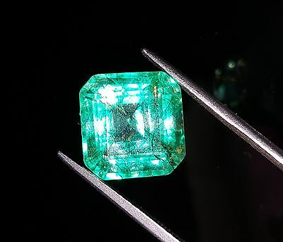 Amazing Certified 9.17 Ct Natural Square Shape Colombian Emerald Gemstone