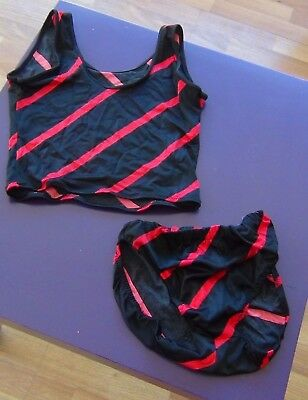 Dance Exercise red and black stripes top and panties