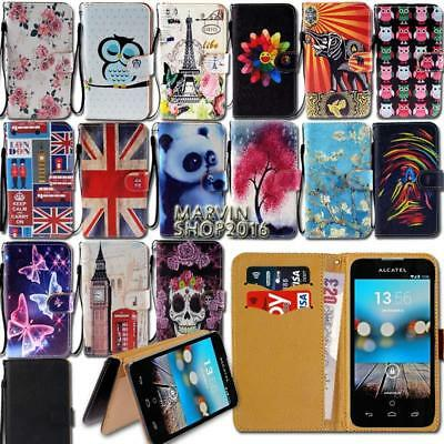Leather Wallet Stand Magnetic Flip Case Cover For Various Alcatel SmartPhones
