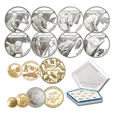 Korea 2016 Pyeong Chang 2018 Winter Olympic Gold & Silver 11 Coins Full SET