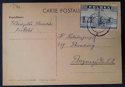 1946 Poland Post Parcel Card ties 6 Zl stamp canc Mikolow to Bayonne USA