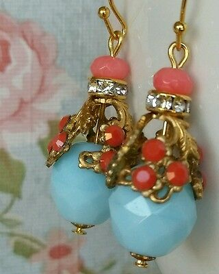 Sky Blue Opaque Faceted Czech Gold Filigree Coral Rhinestone Earrings