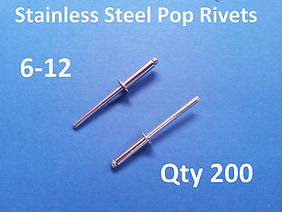 """200 POP RIVETS STAINLESS STEEL BLIND DOME 6-12 4.8mm x 23.5mm 3/16"""""""