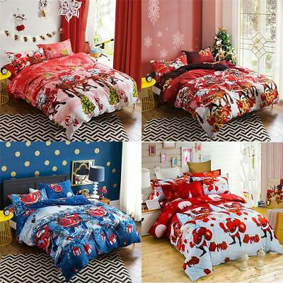 Christmas Bedding Sets Duvet Cover Queen/King Size Linens Bed Clothes Sheet 3D