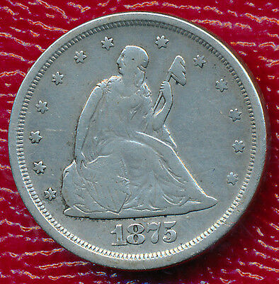 1875-S Twenty Cent Piece **partial Liberty Shows** Nicely Circulated