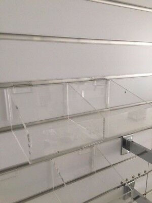 3 DOUBLE CLEAR TRAY HOLDER Shop fit out slat wall racking Business store display