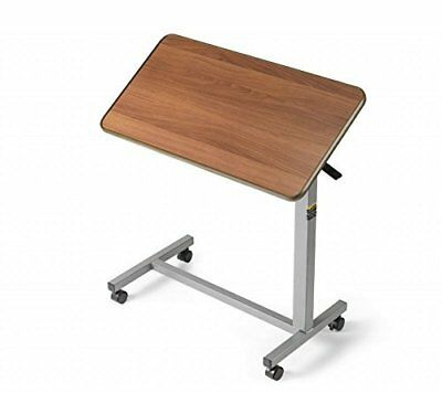 Medical Deluxe Tiltable Overbed Bedside Table w One-touch Height Adjustment F...