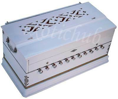 HARMONIUM~HAND MADE INDIAN~WHITE COLOR~3½ OCTAVE~11 STOP~5 DRONE~440Hz~SHRUTI~DJ