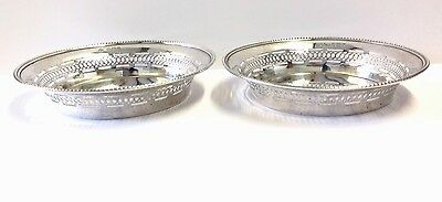 Antique Solid Silver Pierced Dish X 2 Matching