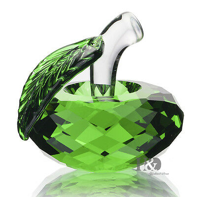 Green Crystal Paperweight 3D Apple Figurine Ornament Collection Lady Gift 40mm