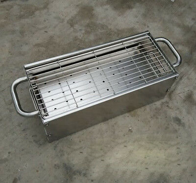 Simple Length50CM Width23CM Stainless Steel Household outdoor Portable Grill BBQ