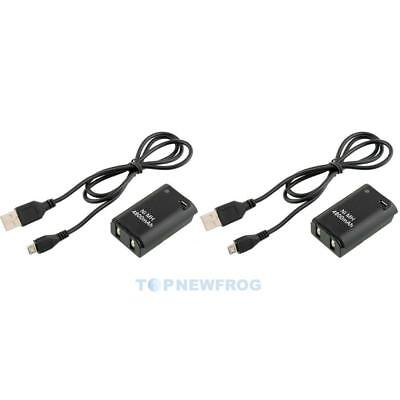 2X 4800mAh Battery Pack + Charger Cable Xbox 360 Wireless Controller TN2F