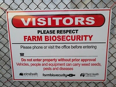 Farm Biosecurity Safety Sign 300x225mm METAL 3mm Thick Aluminium Composite ACP
