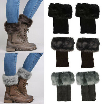 Girls Winter Socks Faux Fur Boot Shoes Cuffs Cover Toppers Fluffy Leg Warmers