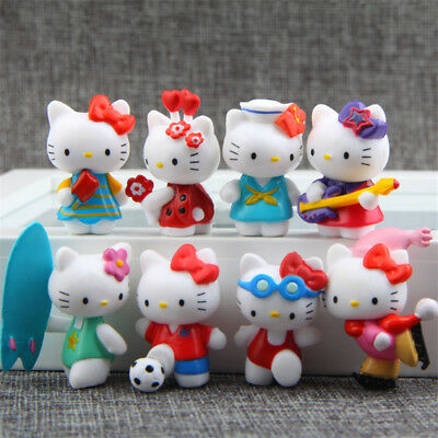 8pcs Hello Kitty Anime Figures Sports Modeling Decoration Figurine Cake Topper
