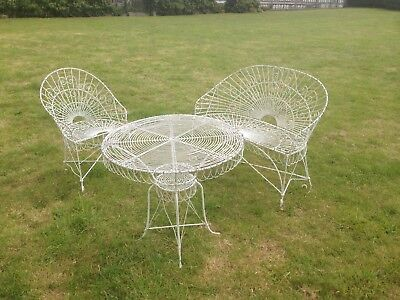 Vintage Garden French Wirework Bench Table & Chair Patio Shabby Metal Chic