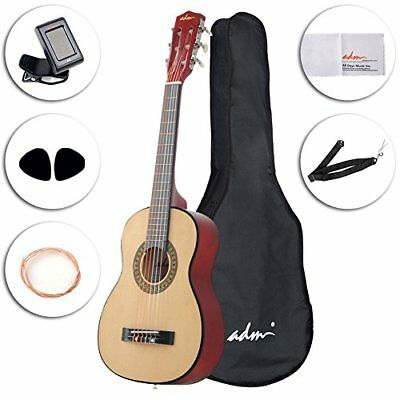 ADM Beginner Classical Guitar 30 Inch Nylon Strings Bundle with Carrying Bag ...