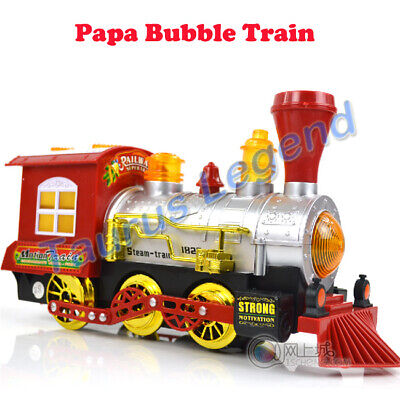 Electric Bump and Go Toy Steam Train Engine Blowing Bubble Music Light Kids Toy