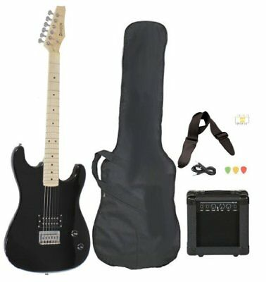 Full Size Black Electric Guitar with Amp Case and Accessories Pack Beginner S...