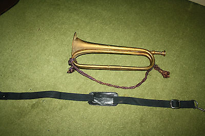 Vintage & original 16-inch Copper & brass bugle with mouthpiece