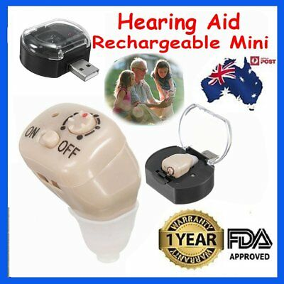 Rechargeable Mini Adjustable Tone In Ear Digital Hearing Aids Sound Amplifier AU