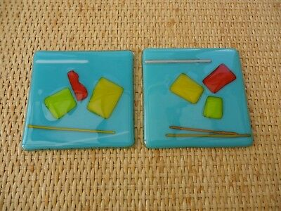 GENUINE ORIGINAL JO DOWNS SET OF 2 x BESPOKE FUSED GLASS COASTERS GEOMETRIC PTRN