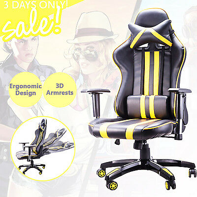 Executive Racing Gaming Chair High Back PU Leather Computer Desk Yellow