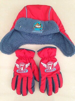 Disney Winter Dusty Aeroplane Red Hat And Gloves Boys Age 3-6