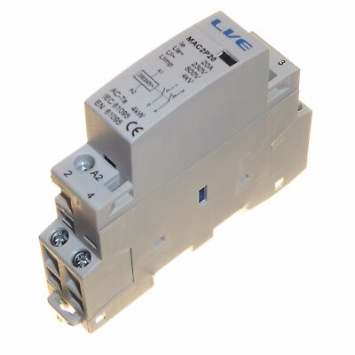 20 amp AC contactor 4kW 2 pole normally open DIN rail mount Heating Lighting New