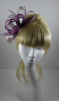 Plum/silver lilac fascinator on headband for wedding/mother of the bride/races