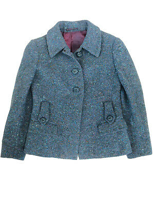 1950's True Vintage Fifties Women's Blue Fleck Tweed Jacket with tab detail UK 8