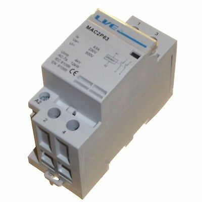 63 amp AC contactor 12kW 2 pole normally open DIN rail mount Heating Lighting