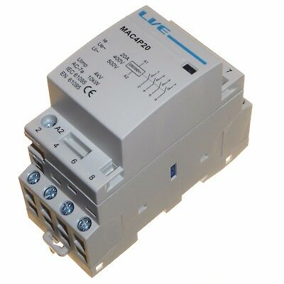 20 amp AC contactor 10kW 4 pole normally open DIN rail mount Heating Lighting