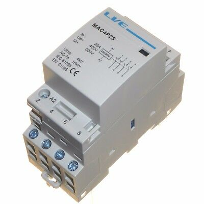 25 amp AC contactor 16kW 4 pole normally open DIN rail mount Heating Lighting