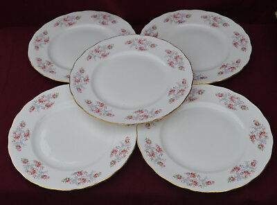 GAINSBOROUGH Pink Roses and Grey Scrolls  DINNER PLATES X .5