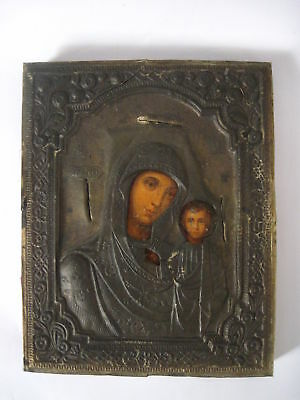 Antique 19c Russian Orthodox Hand Painted wood Icon Mother of God - brass oklad.