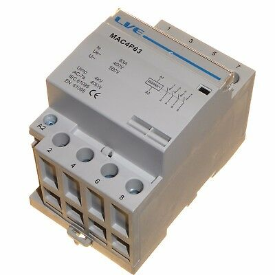 63 amp AC contactor 40kW 4 pole normally open DIN rail mount Heating Lighting