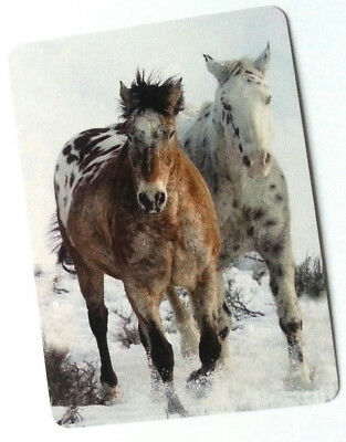 Swap / Playing Card ~ Two Horses  ~ Modern Wide ~ Linen