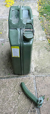 20 Litre Jerry Can Steel, Green.+ pouring nozzle fully certified for fuel VGC