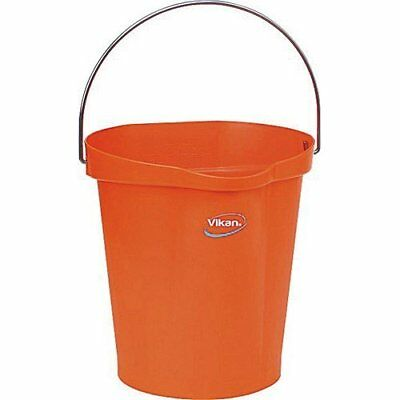 Vikan 56867 Plastic Round Heavy Duty Pail with Stainless Steel Handle, 3 gal,