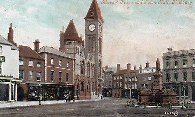 postcard of Market Place, Newbury, Berkshire, with 1907 postmark