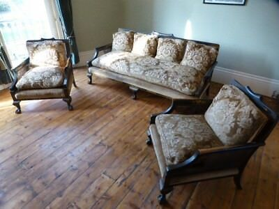 Antique Chinoiserie Bergere Sofa Suite Settee Armchair Oriental Chinese c 1920