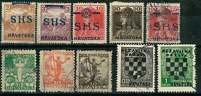 CROATIA YUGOSLAVIA OLD STAMPS with overptinted HUNGARY STAMPS - USED/UNUSED