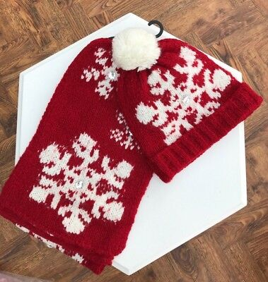 Gorgeous Next Red & White Christmas Snowflake Hat And Scarf Set Wool Mix Bnwt