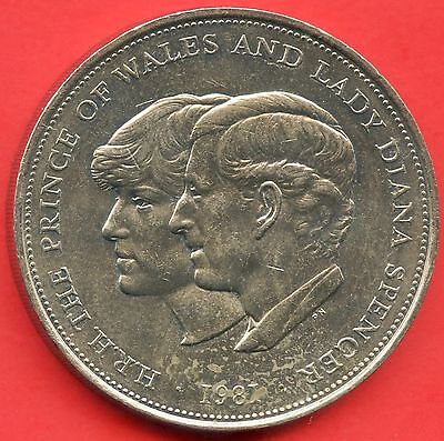 """1981 Great Britain 25 Pence Coin """" Prince Charles & Lady Diana """""""