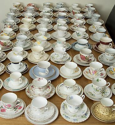 Lot Of 120 Mismatch Vintage China Trios Shabby Chic Wedding Cups Saucers Plates