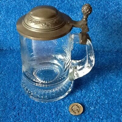 Glass Stein With Pewter Hinged Lid
