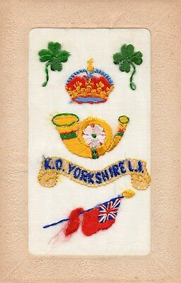 King's Own Yorkshire Light Infantry Badge: Ww1 Embroidered Silk Postcard