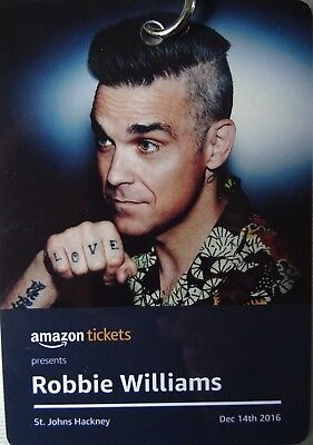 Robbie Williams Signed Vip Neck Tag Lanyard Amazon Tickets Event 14/12/2016